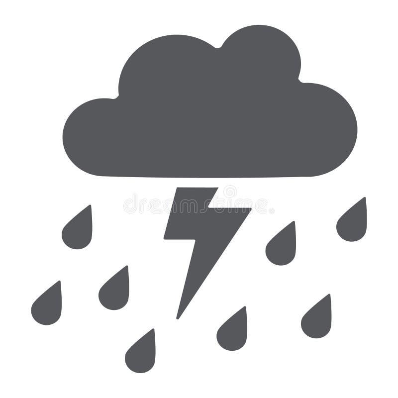 Onweersbui met regen glyph pictogram, weer en voorspelling, donderteken, vectorafbeeldingen, een stevig patroon op een wit vector illustratie