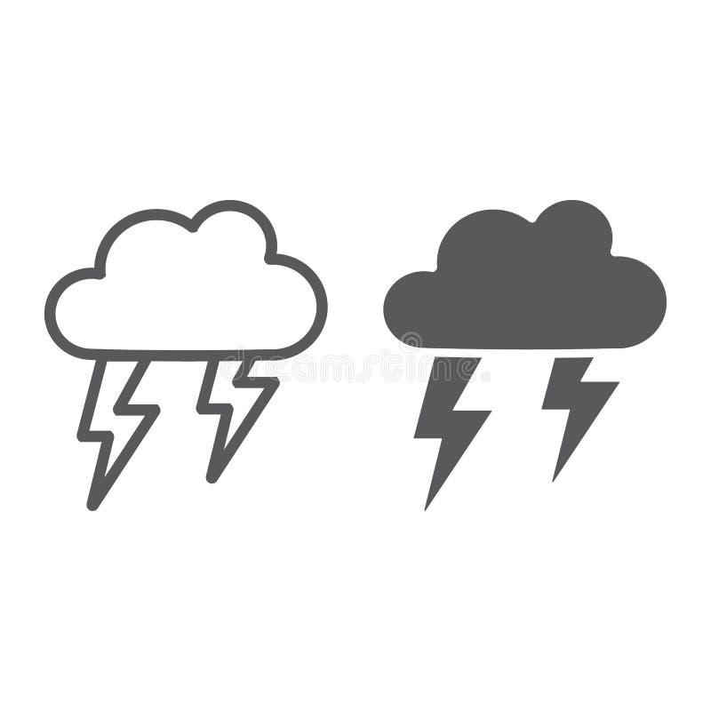 Onweersbuilijn en glyph pictogram, weer en voorspelling, onweersteken, vectorafbeeldingen, een lineair patroon op een wit stock illustratie