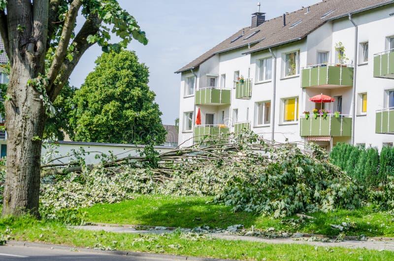 Onweersschade toe te schrijven aan streng weer stock afbeeldingen