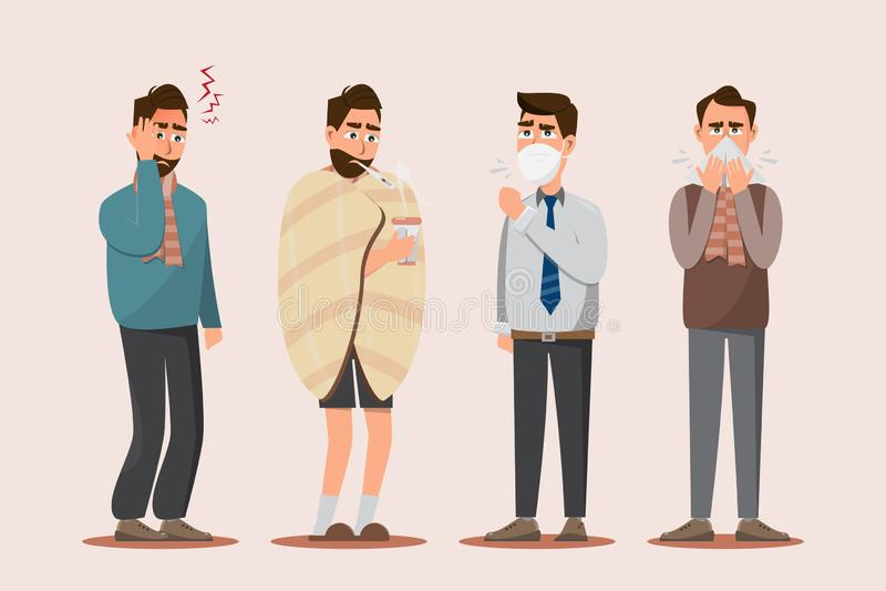 Onwel reeks van zieken, hoofdpijn die, hebbend koude, seizoengebonden griep, hoest en in werking stellend neus voelen stock illustratie