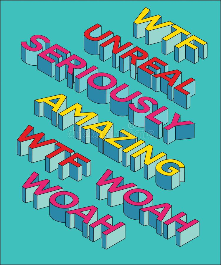 ` Onwerkelijk verbazen, wtf, woah, ernstig `-kunstwerk van de pop-art het moderne typografie, geschikt voor document zak, kaart,  royalty-vrije illustratie