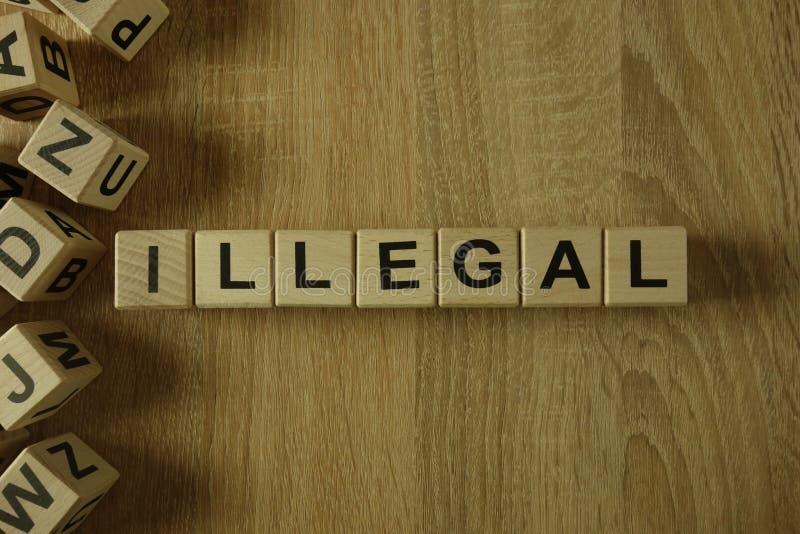 Onwettig woord van houten blokken royalty-vrije stock afbeelding