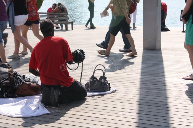 onwettige arbeider op Barcelona royalty-vrije stock afbeelding
