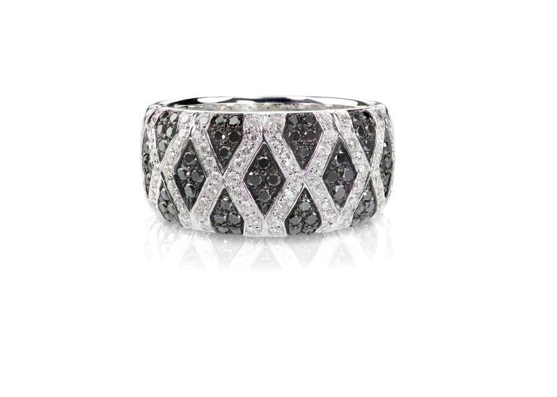 Onyx ed anello neri di anniversario di Diamond Pave Wedding immagine stock