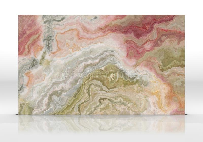 Onyx marble Tile texture. Onyx marble tile standing on the white background with reflections and shadows. Texture for design. 2D illustration. Natural beauty stock image