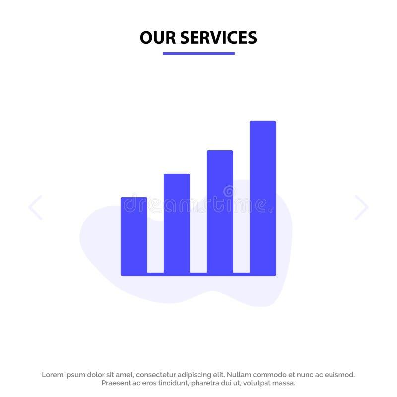 Onze Analitische Diensten, Interface, Signaal, van het het Pictogramweb van Gebruikers Stevig Glyph de kaartmalplaatje stock illustratie