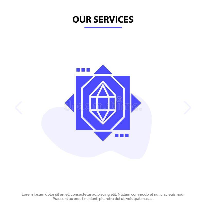 Onze 3d Diensten, Kern, het Vormen zich, van het het Pictogramweb van Ontwerp Stevig Glyph de kaartmalplaatje vector illustratie