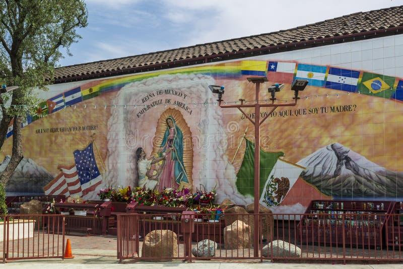 Onze Dame Queen van Engelen Katholieke Kerk, Los Angeles Van de binnenstad, Californië, de Verenigde Staten van Amerika stock foto's