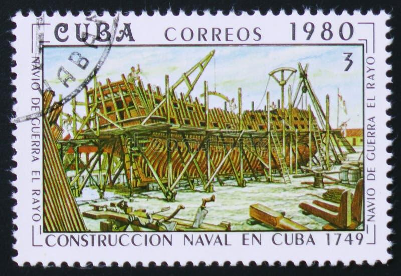 Onze Dame van Atocha, Galjoen, Schip in aanbouw, Bouw van Zeeschepen royalty-vrije stock foto