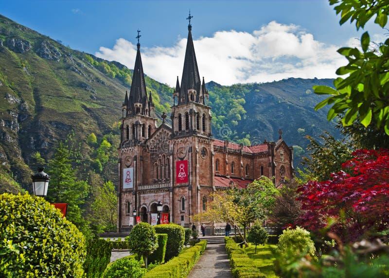 Onze dame van Covadonga Sanctuary, Asturias, Spanje stock fotografie