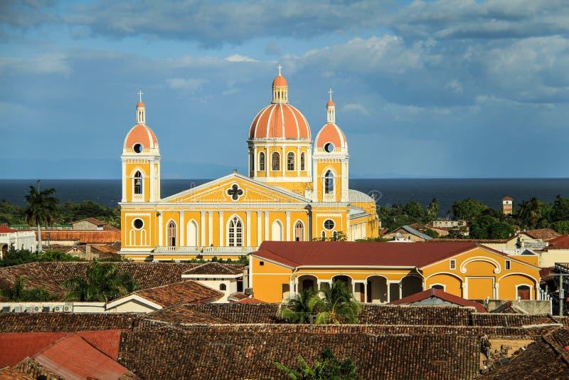 Onze Dame van de Veronderstellingskathedraal, Granada, Nicaragua royalty-vrije stock foto's