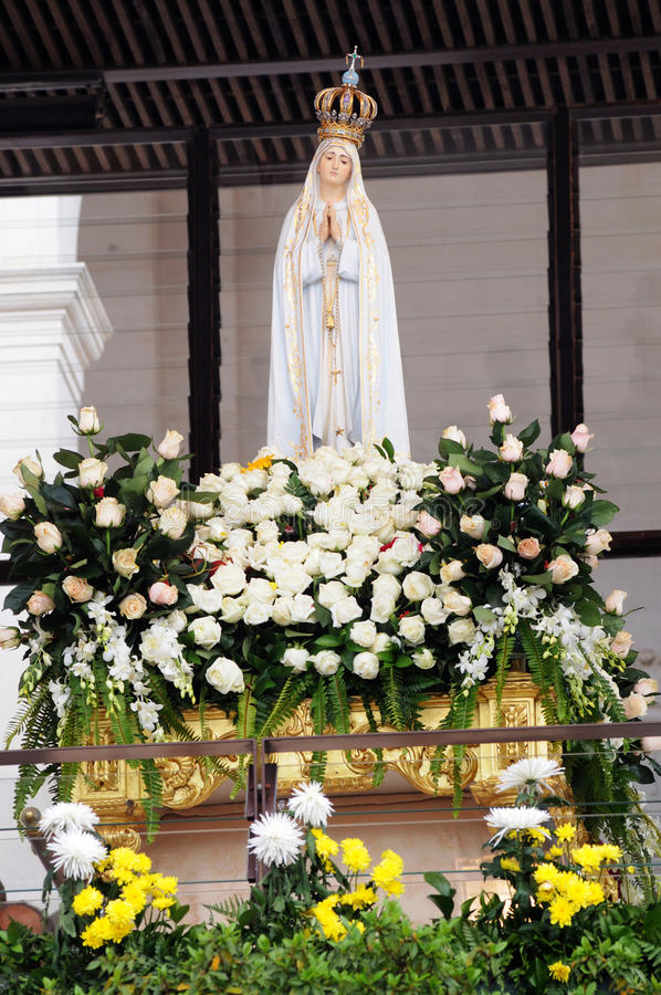Onze Dame van Fatima, Deity Standbeeld, Christian Faith stock foto
