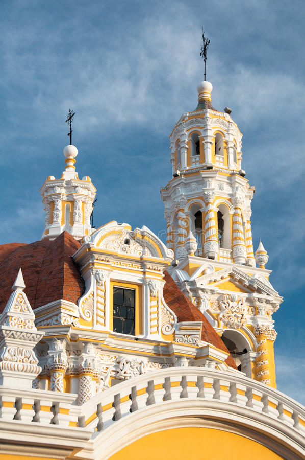 Onze Dame van Guadalupe kerk, Puebla (Mexico) royalty-vrije stock afbeelding