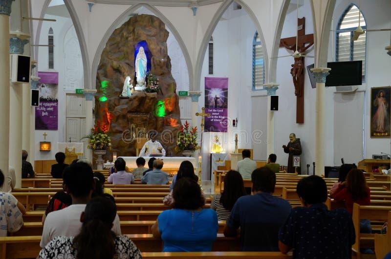 Onze Dame van Lourdes Tamil Catholic Church in Weinig India Singapore stock foto