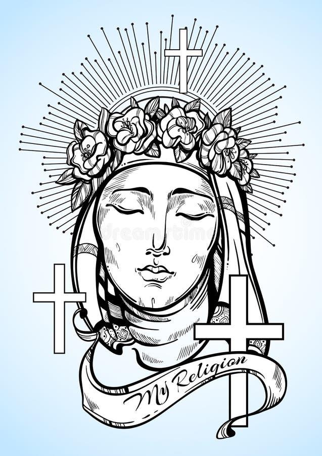 Onze Dame van Verdriet Symbool van Christendom en opmerkelijk geloof Godsdienstige vectorillustratie groot voor druk, affiches royalty-vrije stock foto