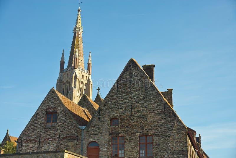 Onze Damekerk, Brugge stock afbeelding