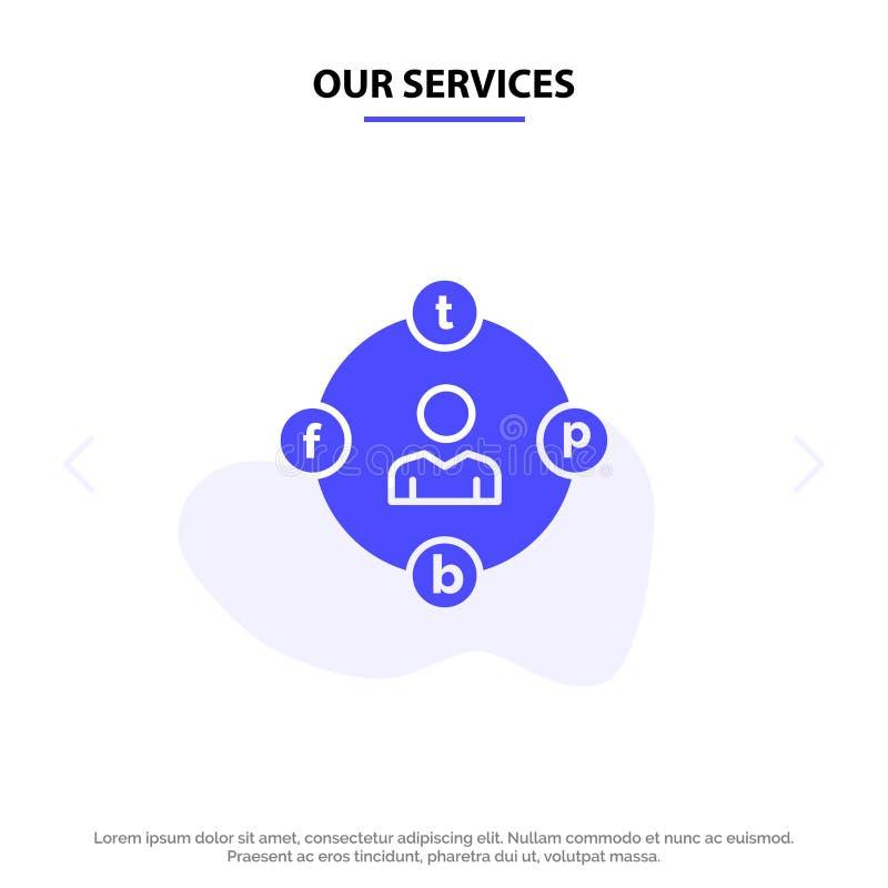 Onze de Diensten Sociale Media, Mededeling, Afleiding, Media, van het het Pictogramweb van Uitstel Stevig Glyph de kaartmalplaatj stock illustratie