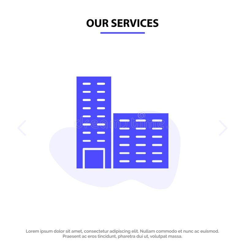 Onze de Dienstenarchitectuur, de Bouw, van het het Pictogramweb van Bouw Stevig Glyph de kaartmalplaatje royalty-vrije illustratie