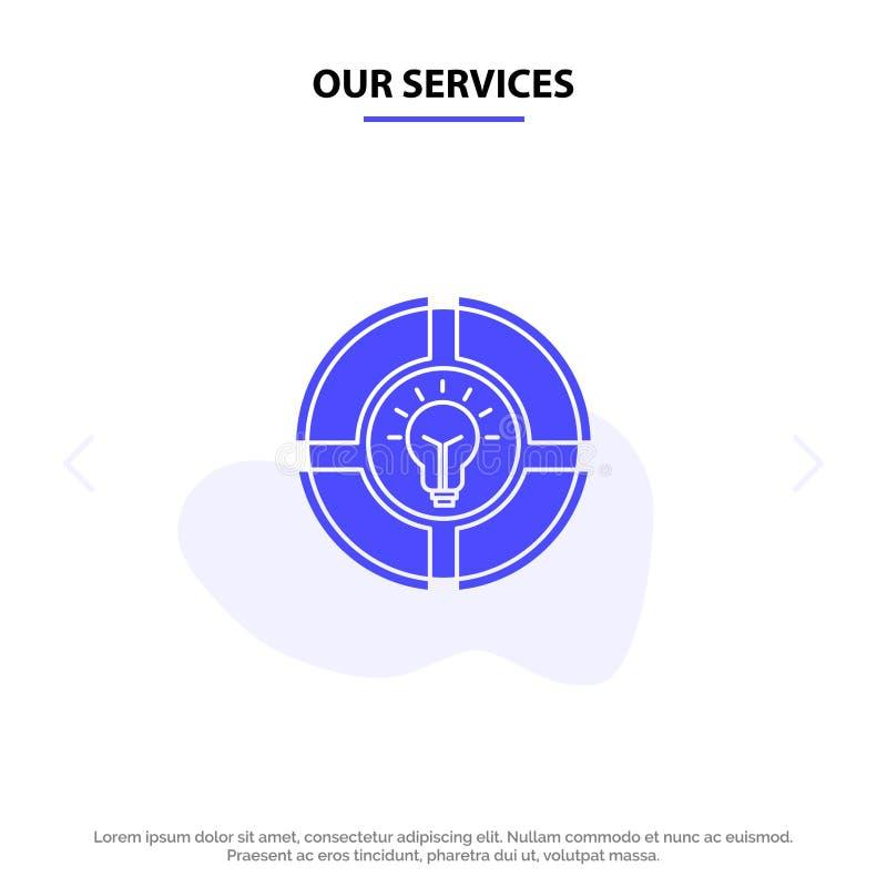 Onze de Dienstenbol, Pastei, Praatje, Licht, van het het Pictogramweb van Idee Stevig Glyph de kaartmalplaatje stock illustratie