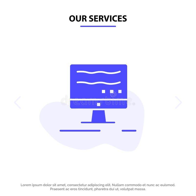Onze de Dienstencomputer, de kaartmalplaatje van het Online, Marketing Stevig Glyph Pictogramweb stock illustratie