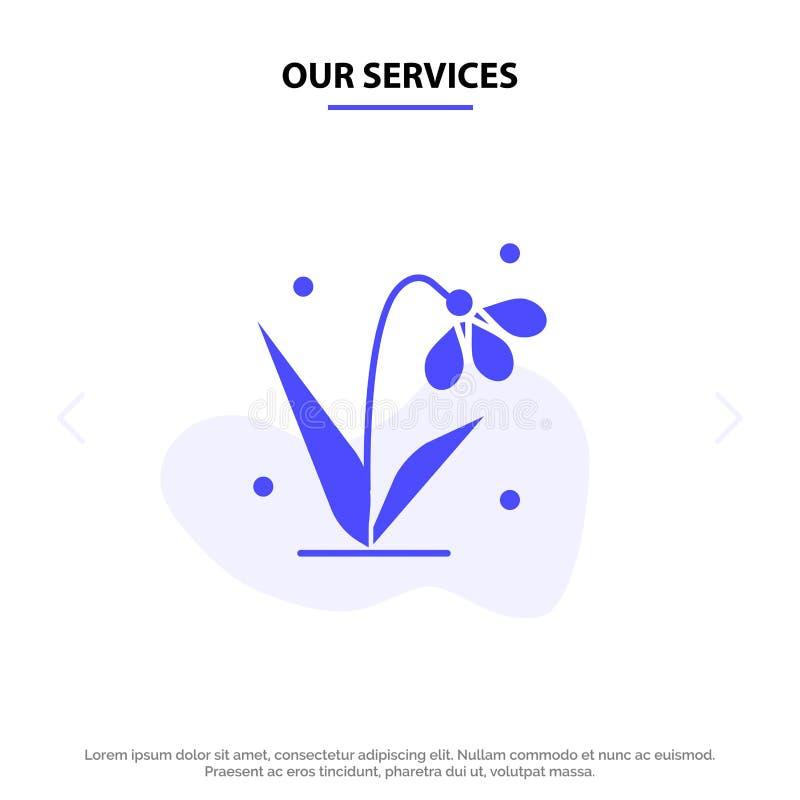 Onze de Dienstendecoratie, Pasen, Installatie, Tulip Solid Glyph Icon Web-kaartmalplaatje stock illustratie