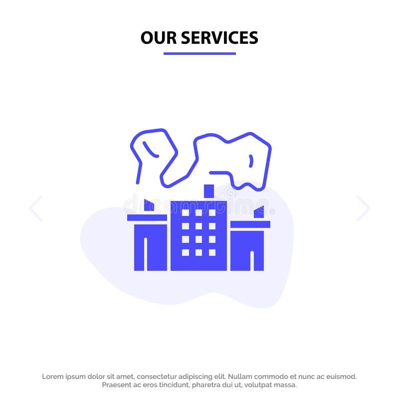 Onze de Dienstenfabriek, Industrie, Kern, van het het Pictogramweb van Machts Stevig Glyph de kaartmalplaatje stock illustratie