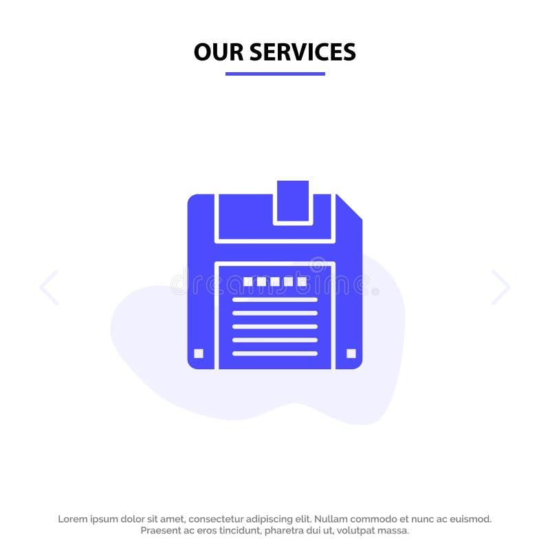 Onze de Dienstenfloppy, Diskette, sparen Stevig Glyph-de kaartmalplaatje van het Pictogramweb vector illustratie