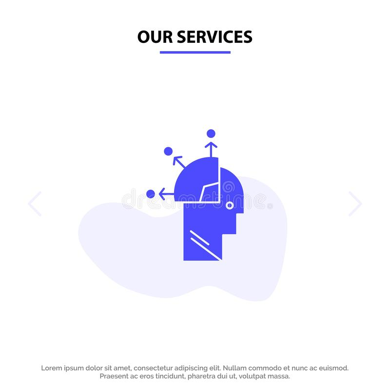 Onze de Dienstengebruiker, Mens, let op programmerend, Art Solid Glyph Icon Web-kaartmalplaatje stock illustratie