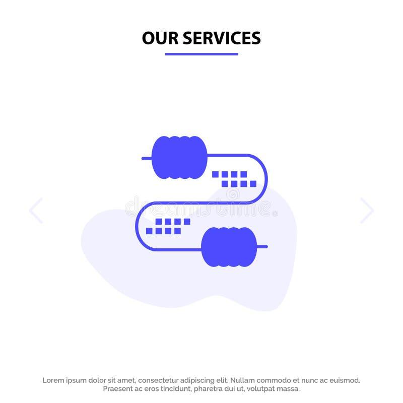 Onze de Dienstenkabel, Draad, Verbinding, van het het Pictogramweb van Condensatoren Stevig Glyph de kaartmalplaatje royalty-vrije illustratie