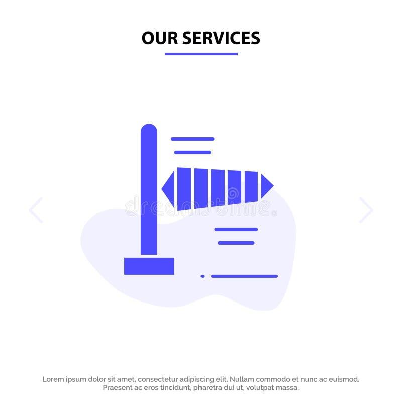 Onze de Dienstenlucht, Wind, Windy Solid Glyph Icon Web-kaartmalplaatje vector illustratie