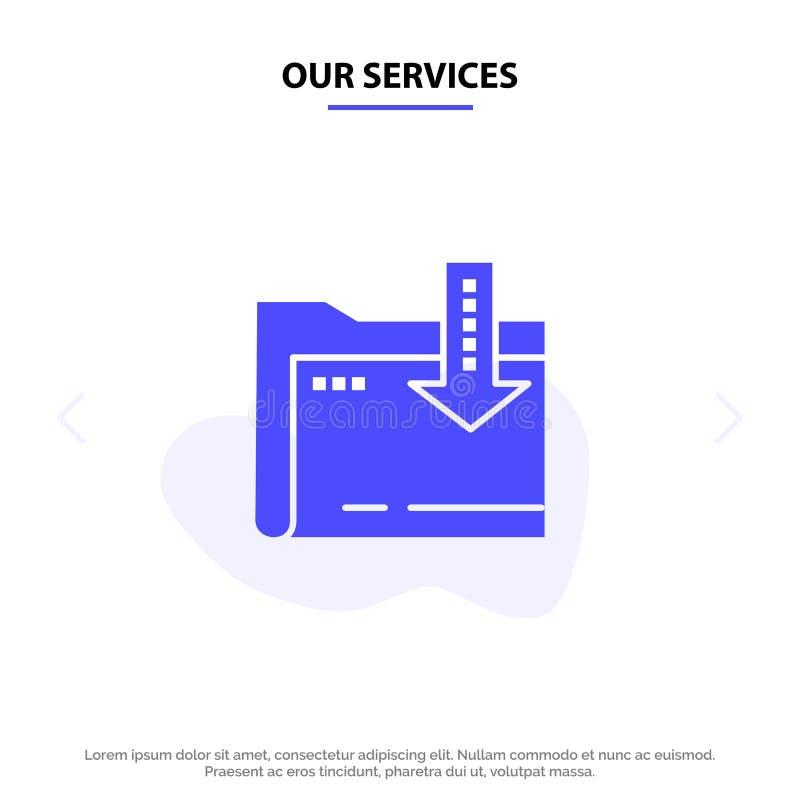 Onze de Dienstenomslag, Download, Gegevensverwerking, van het het Pictogramweb van Pijl Stevig Glyph de kaartmalplaatje royalty-vrije illustratie