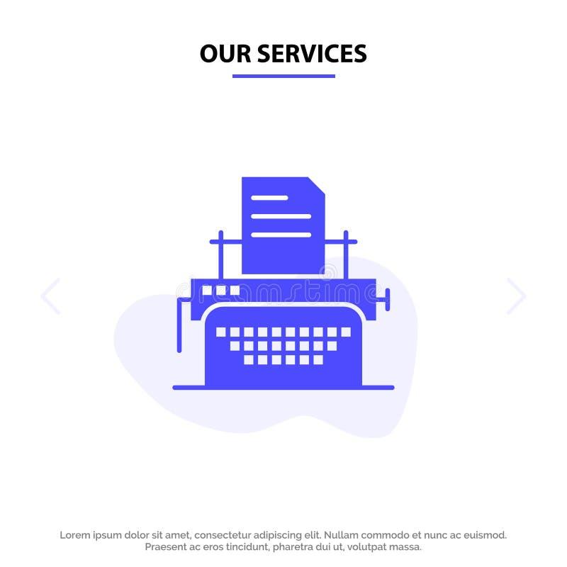 Onze de Dienstenprinter, Fax, Druk, van het het Pictogramweb van Machine Stevig Glyph de kaartmalplaatje vector illustratie