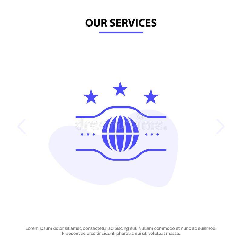 Onze de Dienstenriem, Kampioen, Kampioenschap, van het het Pictogramweb van Sport Stevig Glyph de kaartmalplaatje stock illustratie