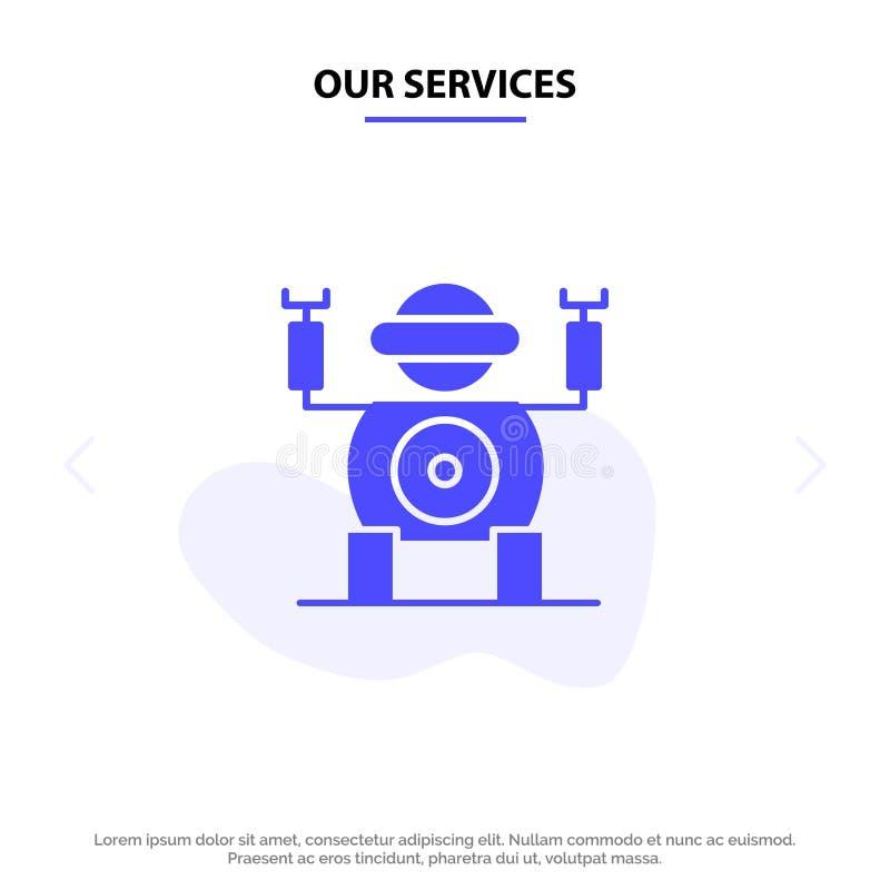 Onze de Dienstenrobot, Technologie, Toy Solid Glyph Icon Web-kaartmalplaatje stock illustratie