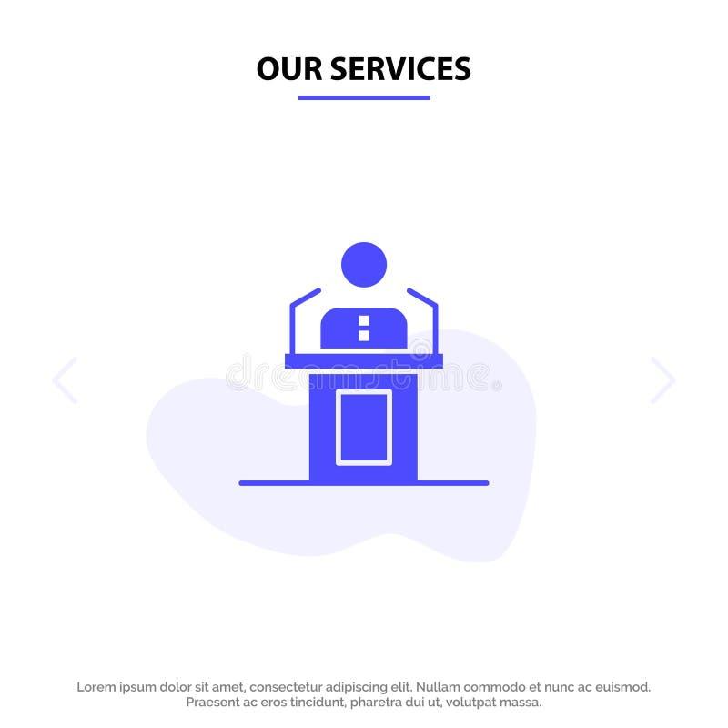 Onze de Dienstenspreker, Persoon, Presentatie, Beroeps, Publiek, Seminarie, van het het Pictogramweb van Toespraak Stevig Glyph d vector illustratie