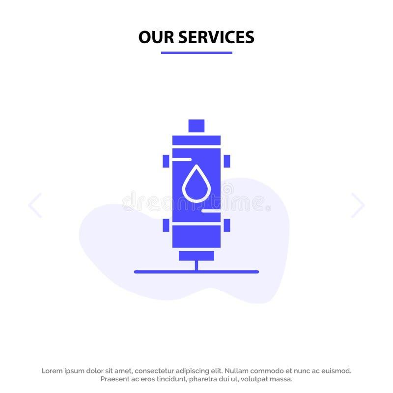 Onze de Dienstenverwarmer, Water, Hete Hitte, Gas, van het het Pictogramweb van Geiser Stevig Glyph de kaartmalplaatje vector illustratie