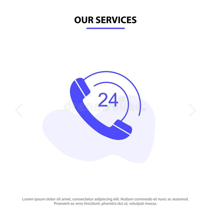 Onze de Dienstenvraag, Mededeling, Telefoon, van het het Pictogramweb van Steun Stevig Glyph de kaartmalplaatje royalty-vrije illustratie