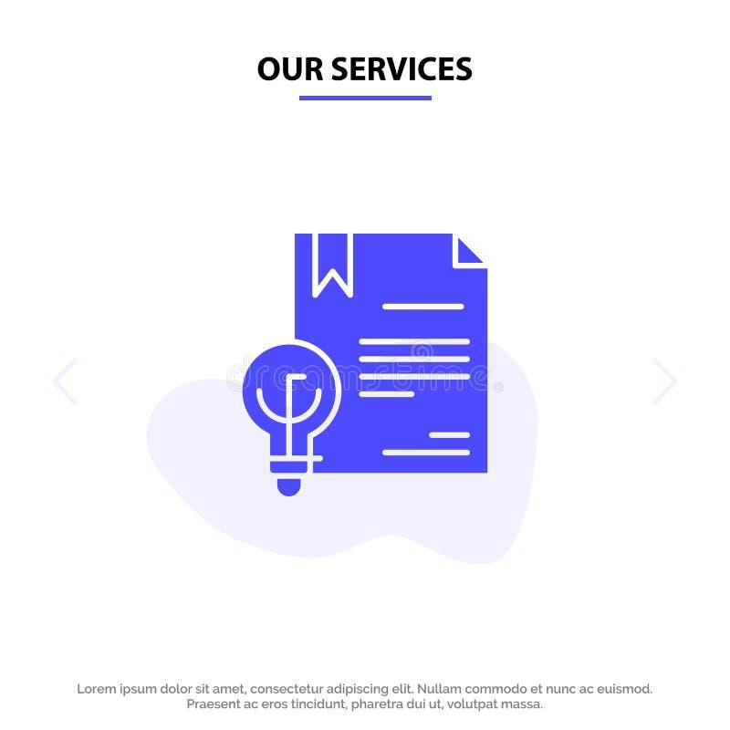 Onze de Dienstenzaken, Digitaal Copyright, Uitvinding, van het het Pictogramweb van Wets Stevig Glyph de kaartmalplaatje royalty-vrije illustratie