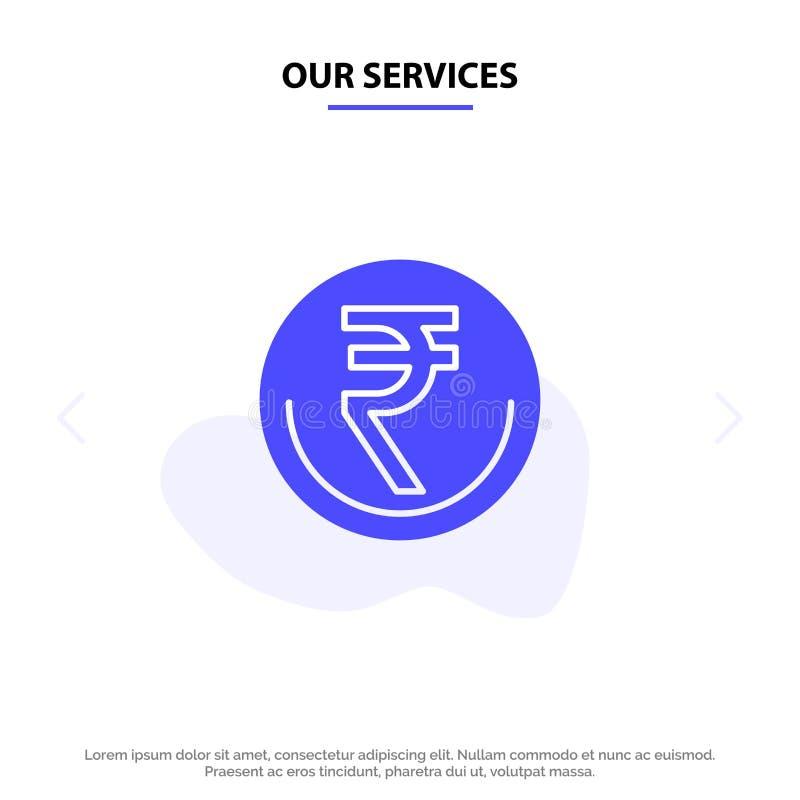 Onze de Dienstenzaken, Munt, Financiën, Indiër, Inr, Roepie, van het het Pictogramweb van Handels Stevig Glyph de kaartmalplaatje royalty-vrije illustratie