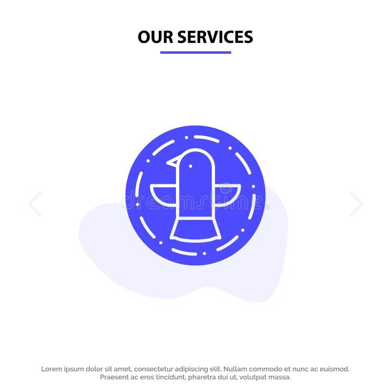 Onze Diensten Amerikaan, Vogel, Viering, Eagle Solid Glyph Icon Web-kaartmalplaatje vector illustratie