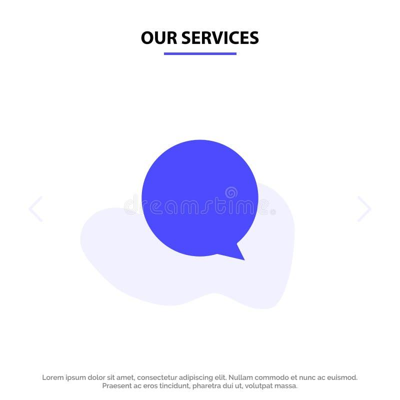 Onze Diensten babbelen, Instagram, van het het Pictogramweb van Interface Stevig Glyph de kaartmalplaatje royalty-vrije illustratie