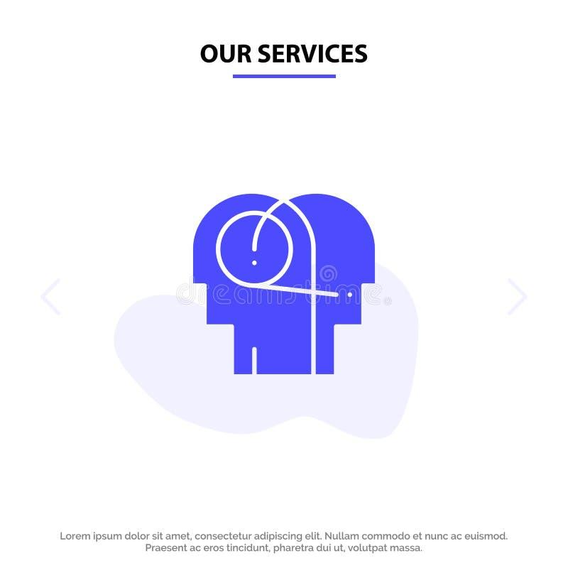 Onze Diensten beter, Mededeling, Hoorzitting, Menselijk Stevig Glyph-de kaartmalplaatje van het Pictogramweb vector illustratie