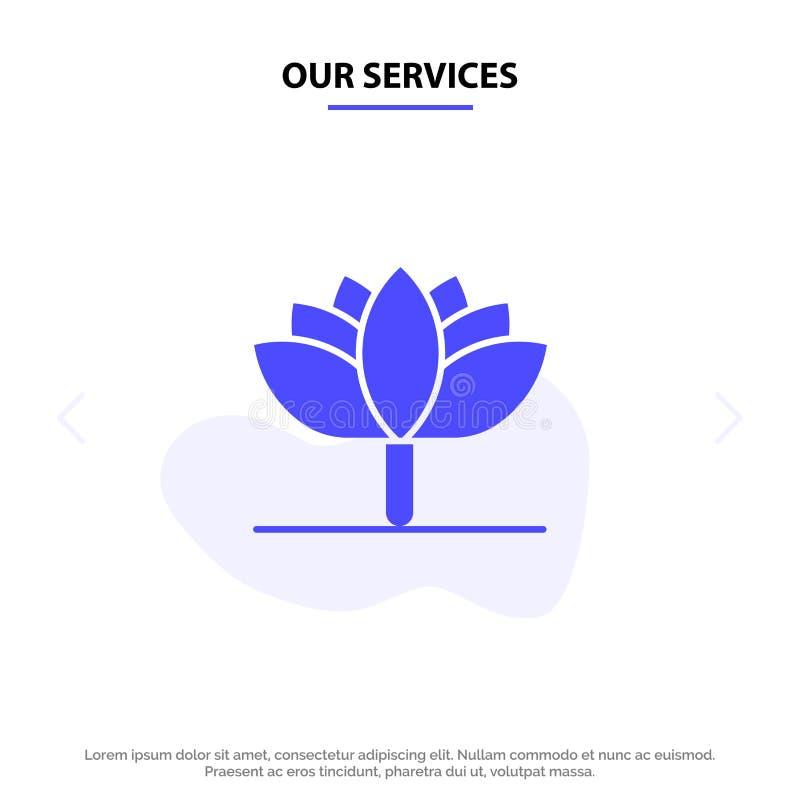 Onze Diensten bloeien, springen Bloem, Tulip Solid Glyph Icon Web-kaartmalplaatje op royalty-vrije illustratie