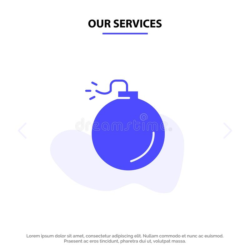 Onze Diensten bombarderen, Explosief, van het het Pictogramweb van Explosie Stevig Glyph de kaartmalplaatje royalty-vrije illustratie