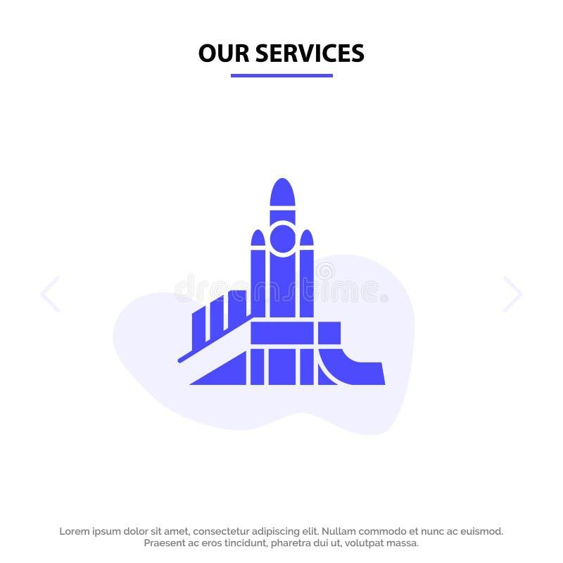 Onze Diensten bombarderen, Spelen, Kern, Speelplaats, Politiek Stevig Glyph-de kaartmalplaatje van het Pictogramweb vector illustratie