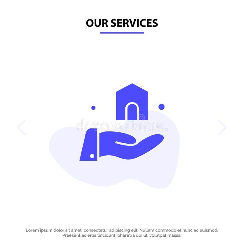 Onze Diensten die, bouwen, van het het Pictogramweb van Bouw Stevig Glyph de kaartmalplaatje bouwen royalty-vrije illustratie