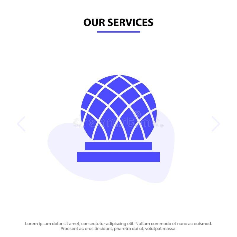 Onze Diensten die, Canada, Stad, van het het Pictogramweb van Koepel Stevig Glyph de kaartmalplaatje bouwen vector illustratie
