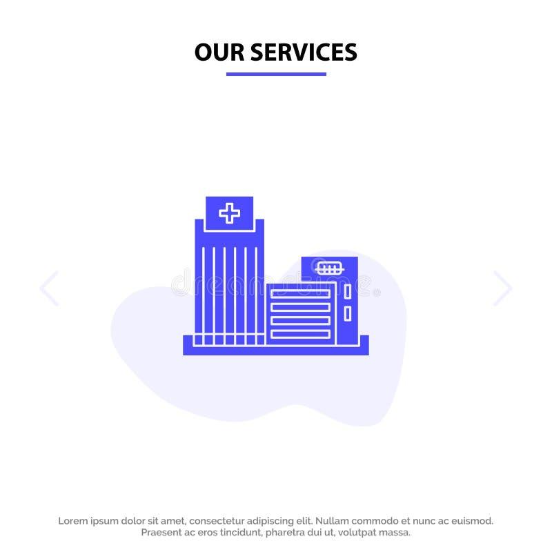 Onze Diensten die, Echt Landgoed, Flat, van het het Pictogramweb van Bureau Stevig Glyph de kaartmalplaatje bouwen vector illustratie