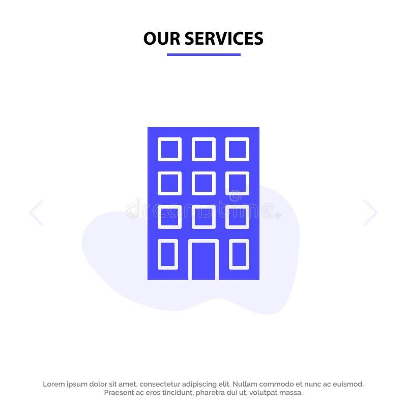 Onze Diensten die, Gebouwen, van het het Pictogramweb van Bouw Stevig Glyph de kaartmalplaatje bouwen royalty-vrije illustratie