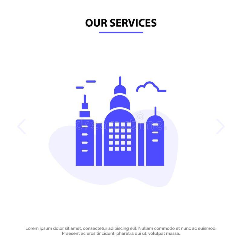 Onze Diensten die, Huis, van het het Pictogramweb van Canada Stevig Glyph de kaartmalplaatje bouwen vector illustratie